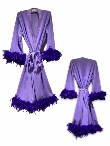 Vintage Purple Fluffy Marabou Feather Trimmed Loun
