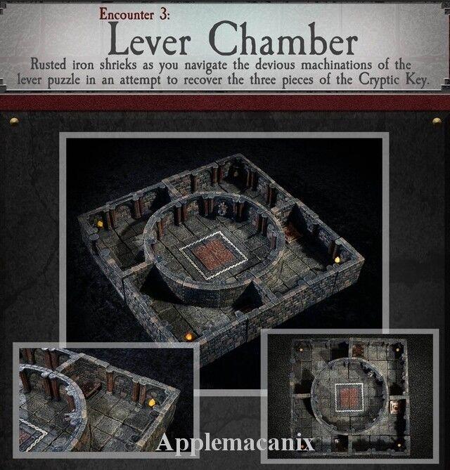 Dwarven Forge Lever Chamber Dungeons of Doom 2018 w  Målade -Magnets - D &D - brickor