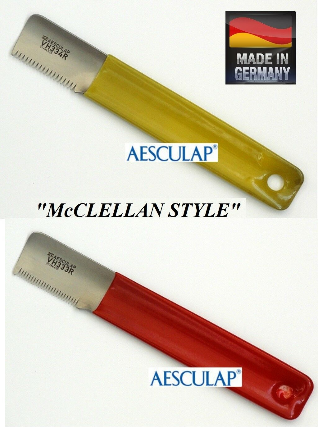 AESCULAP  McClellan Style  STRIPPING KNIFE SET Hand Coat Stripper Carding KNIVES