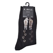 K. Bell Women's Socks HORSE WALKING on Black Crew Sock Size: 9-11