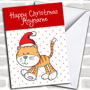 Spotty-Ginger-Tabby-Cat-Children-039-s-Christmas-Customised-Card