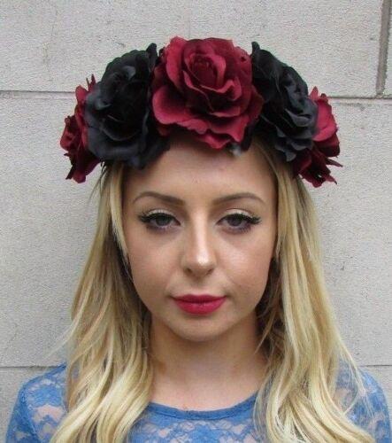 Large Burgundy Red Black Rose Flower Headband Sugar Skull Day of the Dead 6136