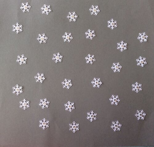 scrapbook Christmas Craft snowflakes with gem centre set of 30 Cardmaking