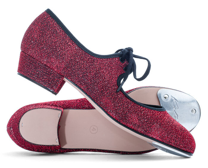 Girls Ladies Red Glitter Low Heel Tap Dance Shoes With Toe Plates By Katz