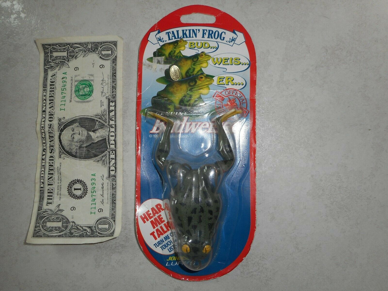 1996 Sealed Carded Johnson Lures Budweiser Talking Fishing Lure