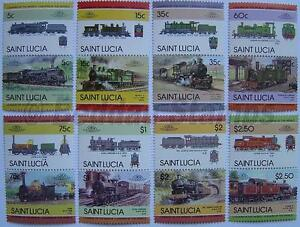 1985 St Lucia Set #3 Train Locomotive Railway Timbres (les Dirigeants Du Monde)