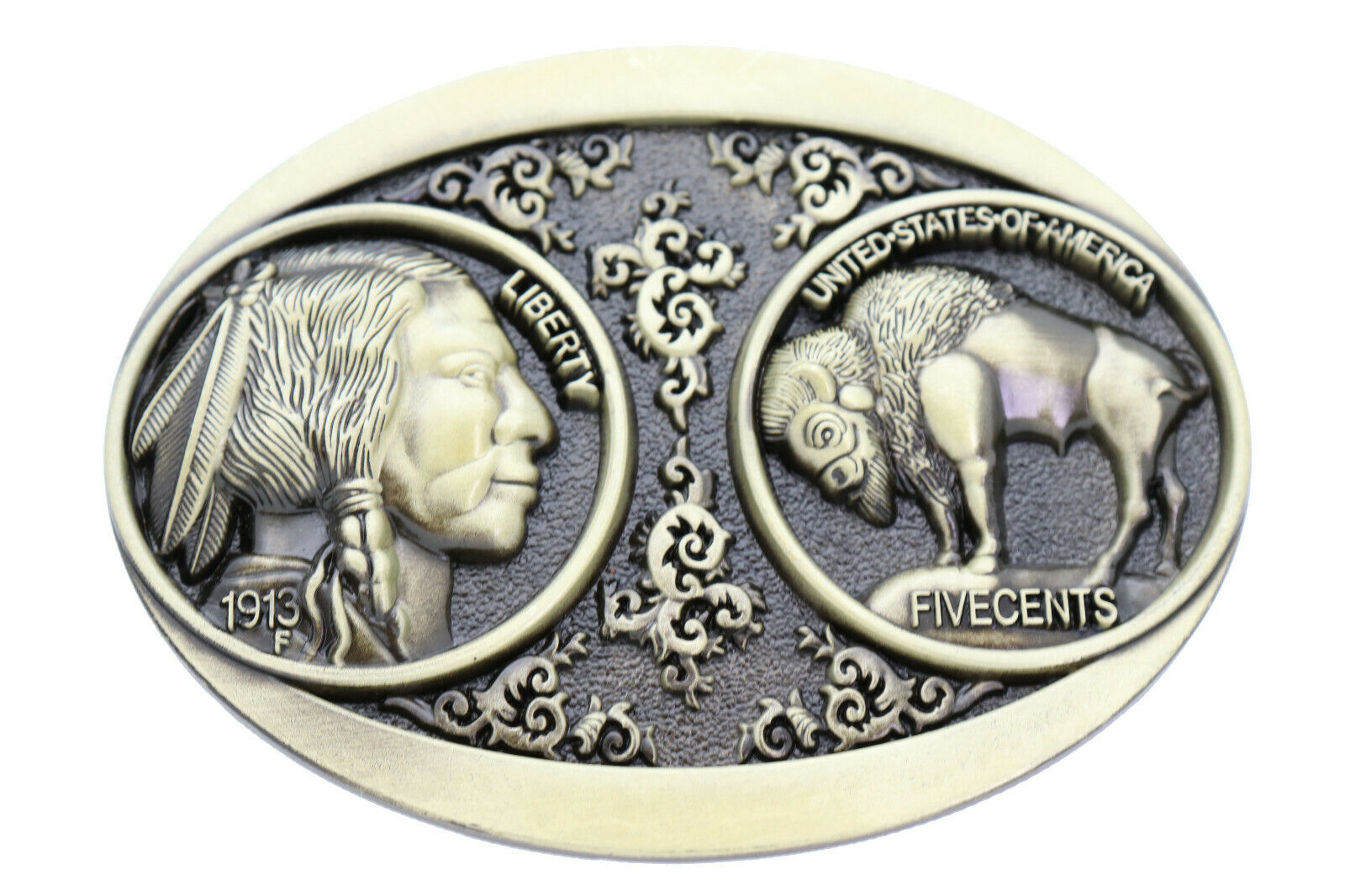 Herren Native Cowboy Western Metall Gürtelschnalle Antik Gold Buffalo 5 Cents