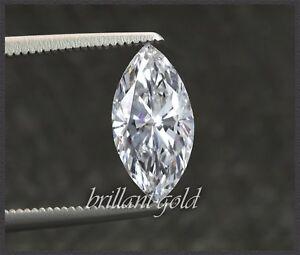 Diamant-im-Navette-Schliff-0-64-ct-Zertifikat-Top-Wesselton-Si1-unbehandelt