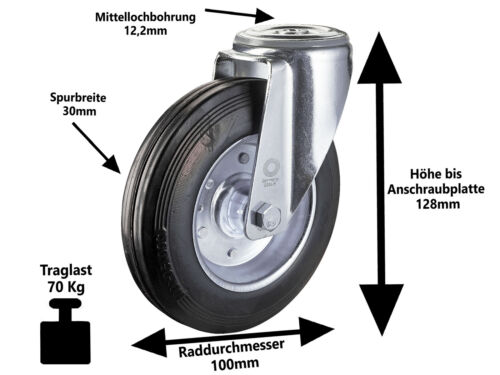 4 x Vollgummi Rückenloch Lenkrolle Transport Schwerlast Rolle Ø 100mm Lenk-Lenk