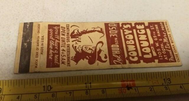 Vintage Cowboy S Lounge Advertising Matchbook Matchbox Ebay