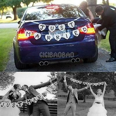 JUST MARRIED Garland Western Wedding Banner Party Handmade Decor Bunting Sign