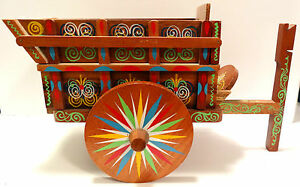Vintage-Costa-Rica-Ox-Donkey-Cart-Hand-Painted-Wood-Colourful-Butterfly
