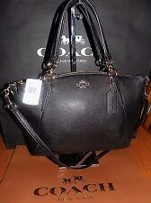 NWT Coach  F36675  Pebble Leather Small Kelsey Satchel Crossbody Bag  $295 BLACK