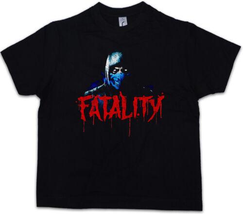 VINTAGE SUB-ZERO FATALITY Kids Boys T-Shirt Scorpion MK Raiden Mortal Kombat