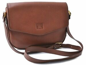Authentic Burberrys Shoulder Cross Body Bag Leather Brown B7574