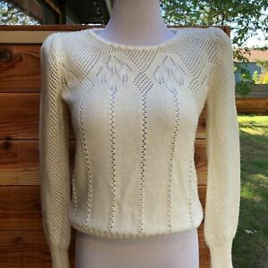 Vintage-70s-Eyelet-Sweater-Puff-Sleeve-XS-S-70s-fashion-Cottage-Core-Neutral