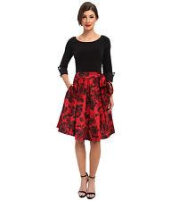 JESSICA HOWARD~Dance Chic V-back Dress~Black & Red~Rose Printed Skirt~Size 12