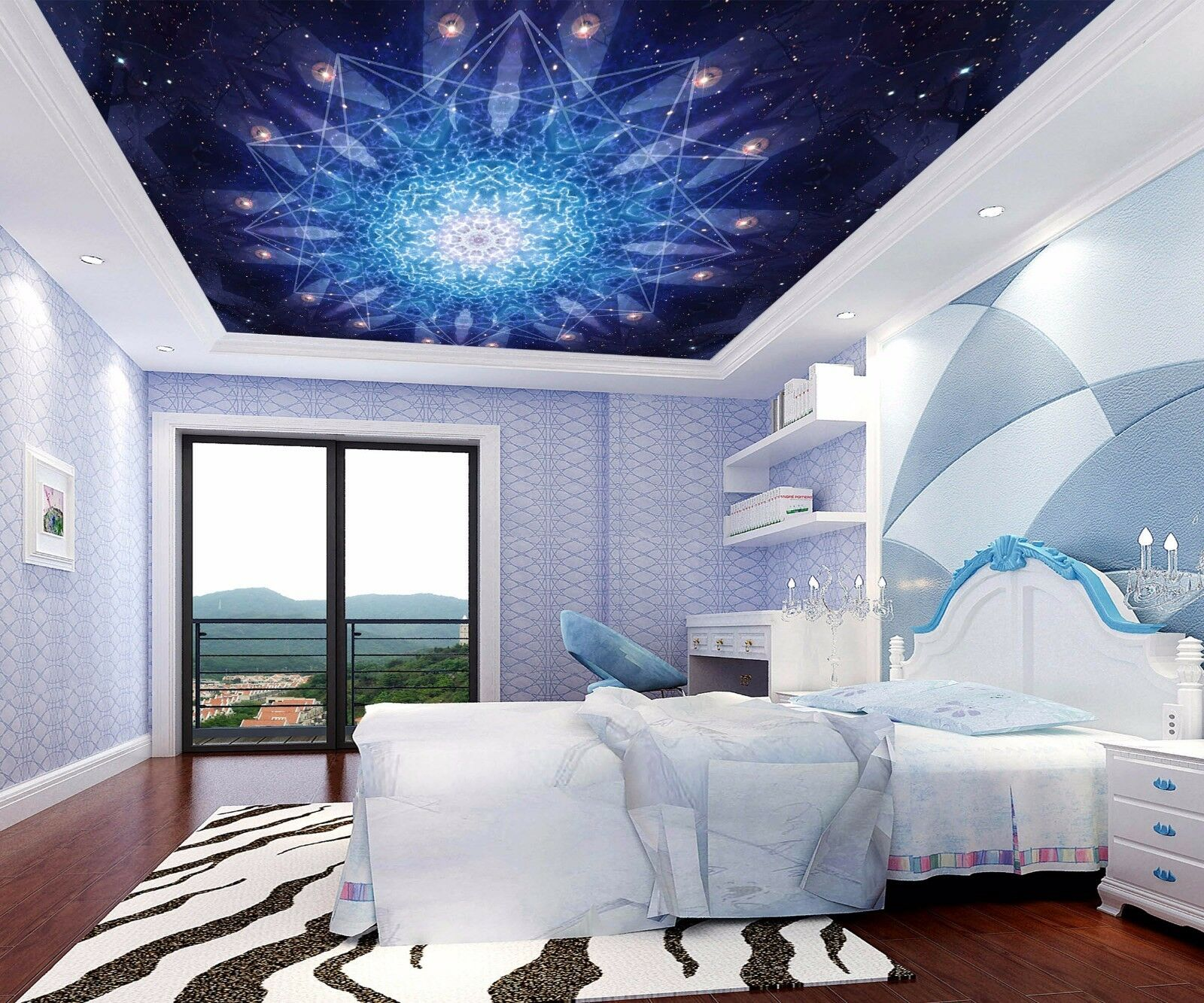 3D Bule Pattern 5 Ceiling WallPaper Murals Wall Print Decal Deco AJ WALLPAPER AU