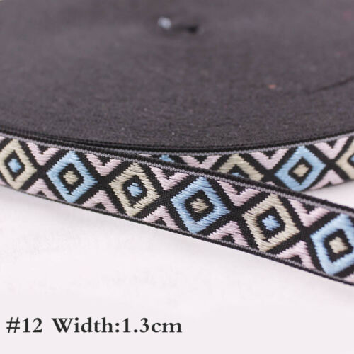 Vintage Embroidery Jacquard Ribbon Sewing Trim Satin Woven Border Crafts Supply