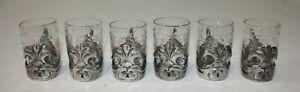 Set-of-6-Christofle-Gallia-Art-Nouveau-Metal-Crystal-Liquor-Cups-Glasses