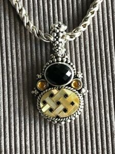 Vintage Onyx with Bronze Clasp Necklace