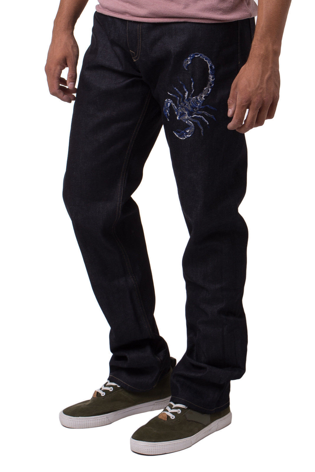 DIESEL schwarz Gold Scorpion Embroiderot Denim Jeans Trousers UK34 IT50 W34 x L34