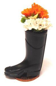 Charmant Échelle 1:12 Noir Wellington Avec Fleurs Maison De Poupées Jardin Fée Wellies Ow-afficher Le Titre D'origine
