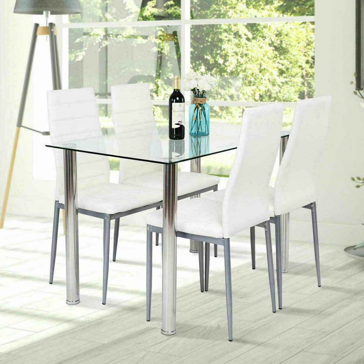 5 Piece Dining Set Glass Table  & 4 Chairs White PU Leather
