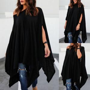 Plus-Size-Women-Cold-Shoulder-Baggy-T-Shirt-Ladies-Slit-Sleeve-Blouse-Tunic-Top