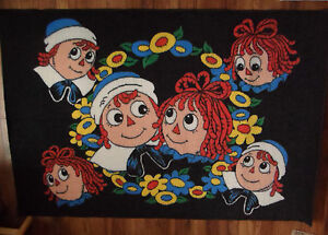 "1993 RARE Raggedy Ann & Andy Face Area Rug 58"" x 39""  Black Background Macmillan"