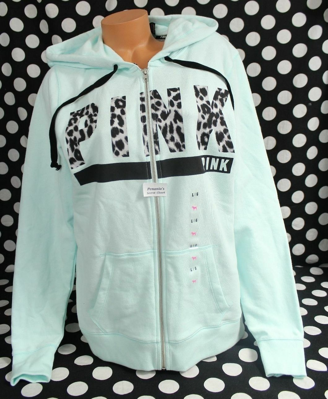 Victoria's Secret PINK sz M Wear Everywhere Hoodie Hoodie Hoodie Mint Leopard  PINK  SOLD OUT afd091