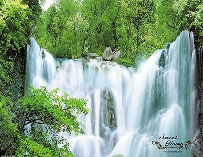 Waterfall In Green Forest Full Wall Mural Decal Print Wallpaper Home Deco Indoor