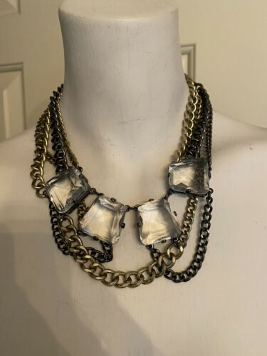 Beautiful Multi Chain & Crystal Necklace - image 1