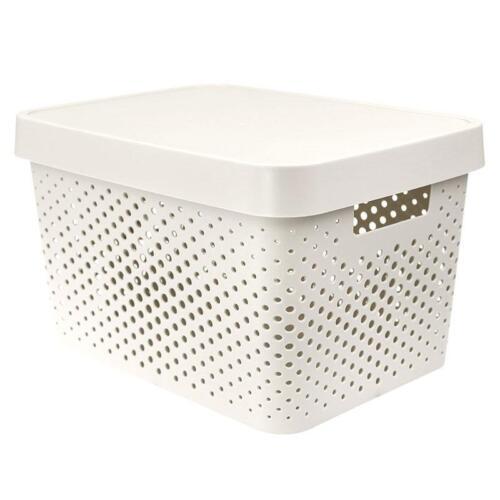 NEW Colourful Plastic Storage Basket w Lid Home Office Organizer 36*27*22cm