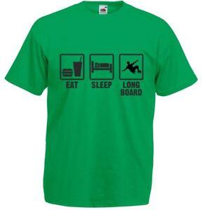 Eat-Sleep-Longboard-Mens-Printed-T-Shirt-100-Cotton-Tee-Soft-Casual-Tshirt