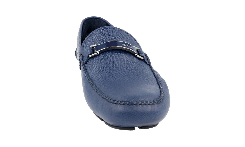 Luxe Prada Saffiano Saffiano Saffiano Mocassins Logo Barrette Chaussures 2dd099 bleu NEUF NEW 10,5 44,5 45 | Le Roi De La Quantité  baf93c