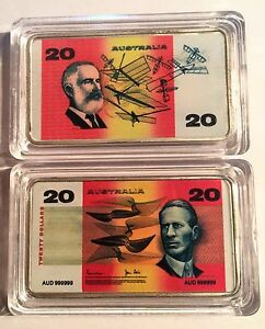 New-20-00-Australian-Old-Note-1-oz-Ingot-999-Silver-Plated-Colour-Printed