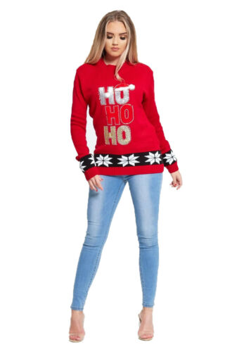 Mesdames Noël Ho Ho tricoté boule manches longues Santa Cap Jumper Pull unisexe