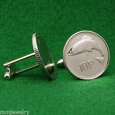 Irish Coin Cufflinks, Salmon Fish 10 Pence (Small) Ireland