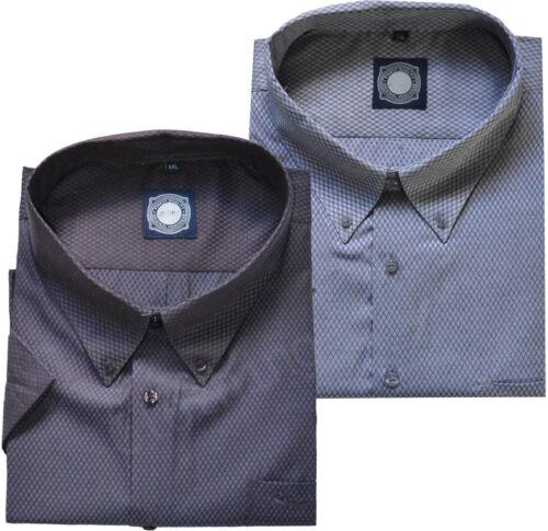 Da Uomo Big Size in Policotone controllare manica corta Camicia Casual Lavoro morbido 2-8XL
