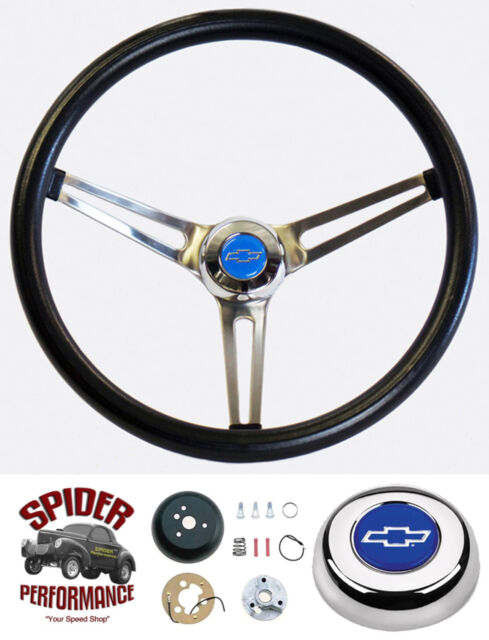 """1960-69 Chevy pickup steering wheel stainless BLUE BOWTIE Grant 15"""" MUSCLE CAR"""