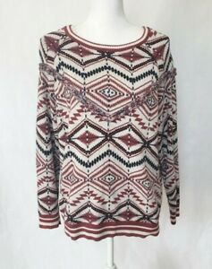 Anthropologie-Camaieu-White-Graphic-Sweater-Medium