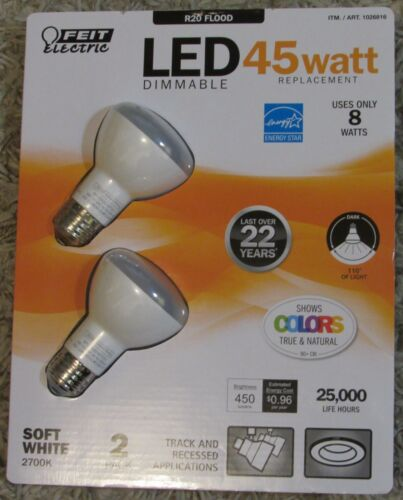 2 PACK LED R20 Feit Electric DIMMABLE Light Bulbs 8W=45W FLOOD Track /& Precessed