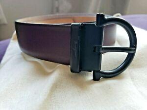 Salvatore-Ferragamo-Mens-Maroon-Burgundy-Leather-Belt-Horseshoe-36-40-CS-679070