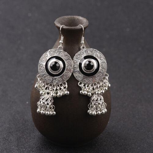 Vintage Bohemian Colorful Engrave Small Bell Tassel Drop Dangle Women/'s Earrings