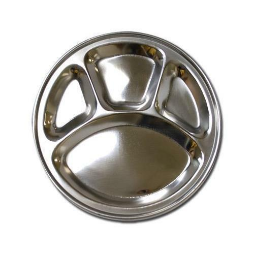 sc 1 st  eBay & Stainless Steel Metal Round Divided Dinner Plate 4 Sections | eBay