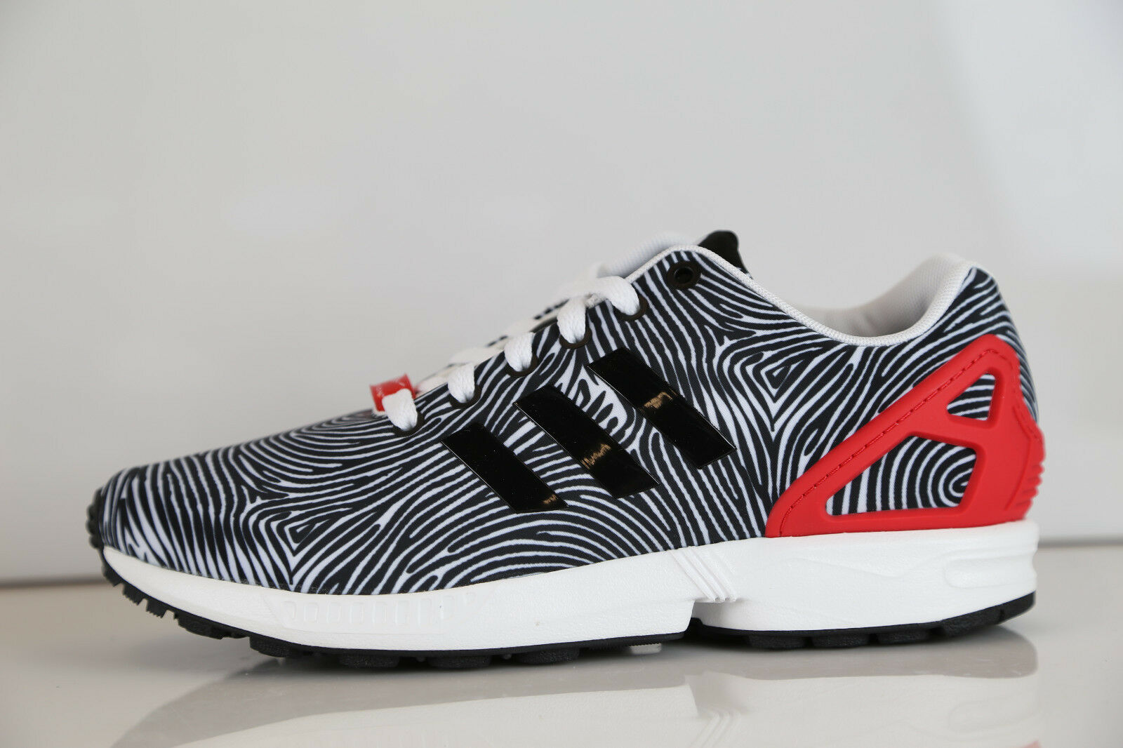 Adidas ZX Flux Zebra Thumbprint White Tomato B27457 8-12 originals all star boos Scarpe classiche da uomo