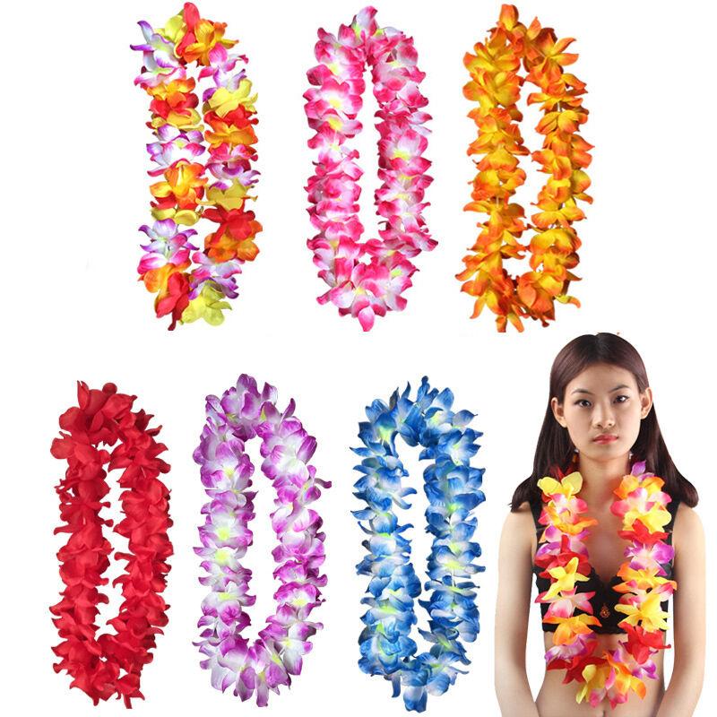 Hawaiian Fancy Dress Hula Flower Lei Garland 4 Piece Set Wholesale Party Lot