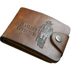 Mens Genuine Leather Bifold Wallet Credit/ID Card Holder Slim Coin Purse Brown