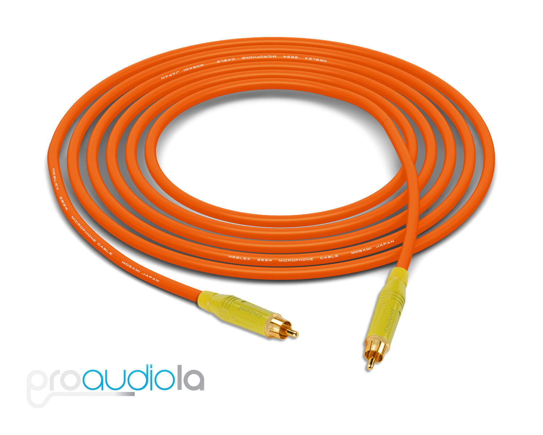 Mogami 2534 Quad Cable Gelb Amphenol RCA to RCA Orange 30 Feet 30 Ft. 30'